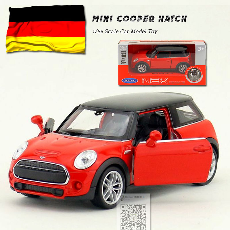 WELLY 1/36 Scale MINI COOPER HATCH Diecast Metal Pull Back Car Model Toy For Gift/Kids/Collection