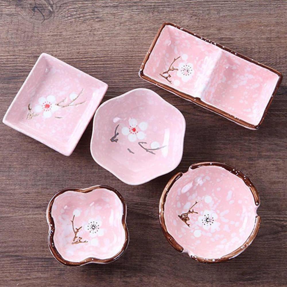 Prato de cerâmica hexagonal em 3 cores, suprimentos para cozinha, estilo japonês, criativo, floco de neve, molho de cerâmica em forma de ameixa