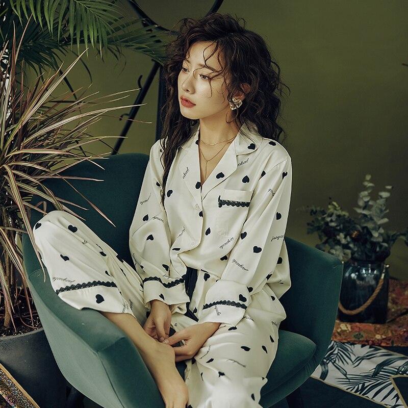 Youhottest  Autumn Winter Long Sleeves Pijama  Women Nature Silk Pajamas
