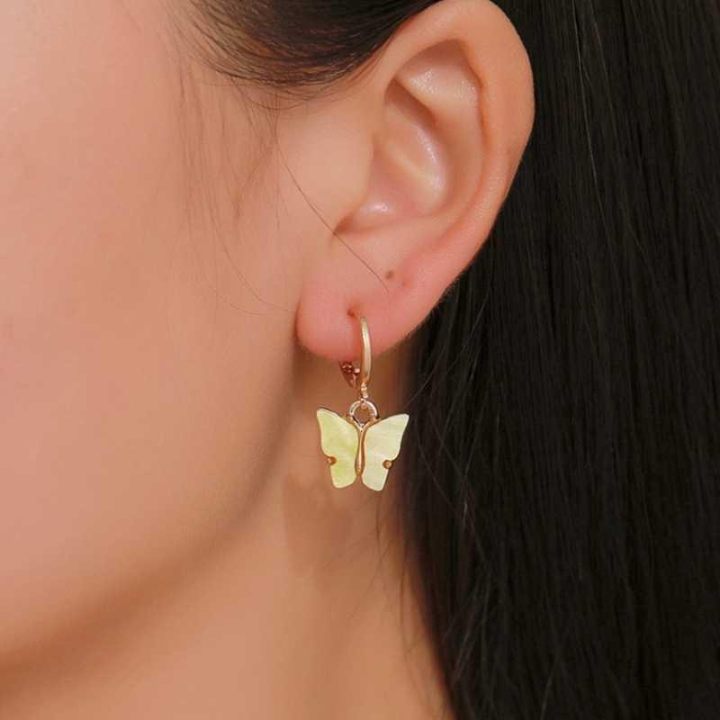 Baru Wanita Anting-Anting Fashion Warna Akrilik Butterfly Stud Anting-Anting Hewan Manis Warna-warni Stud Anting-Anting Wanita Perhiasan