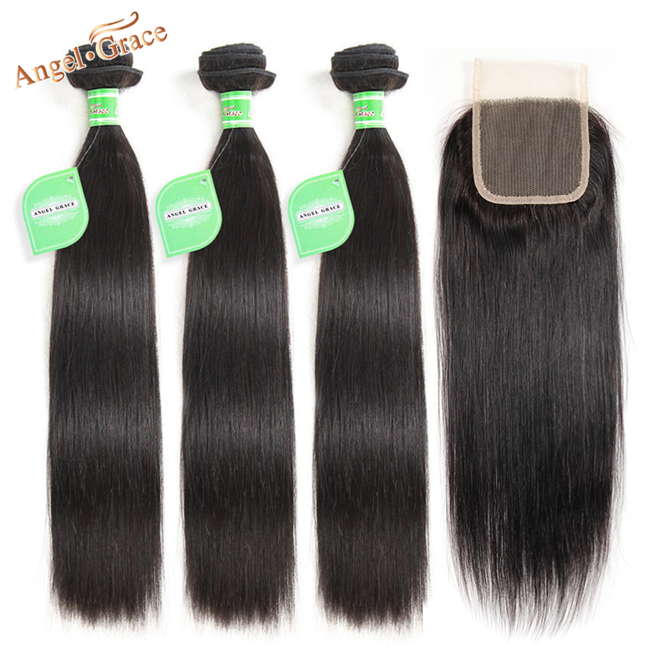 Hd270530b2bb342a1b21d5d3c9f79df2eC Angel Grace Hair Brazilian Straight Hair Bundles With Transparent/HD Lace Closure Remy Human Hair Weave 3 Bundles With Closure