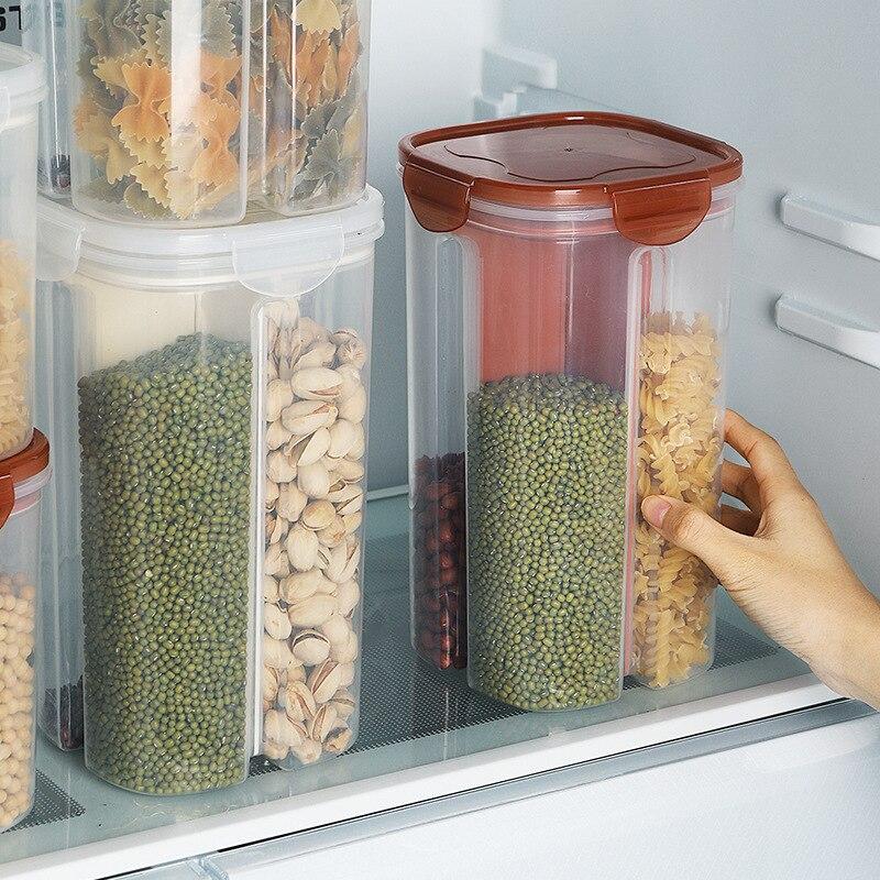 2/4 вращающаяся пластиковая коробка для хранения зерен с решеткой, контейнер для еды для кухни, контейнер для хранения бобы, бутылка для хранения зерна овсяной муки|Бутылки, банки и коробки|   | АлиЭкспресс