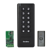 433MHz Wireless Wiegand Access Control RFID Keypad Reader with Wireless Exit Button and Wiegand Signal Receiver Battery Powered