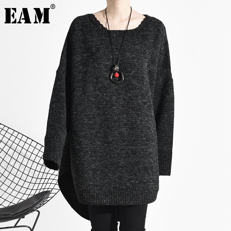 [EAM] Big Size Long Knitting Sweater Loose Fit Round Neck Long Sleeve Women Pullovers New Fashion Tide Spring 2020 OA82101