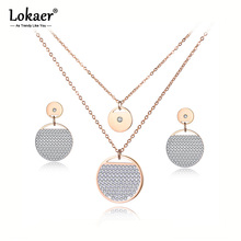 Lokaer Trendy Rose Gold Round Circle Clay Shiny CZ Crystal Necklace Earrings Bridal Sets For Women Wedding Bands Jewelry SE025