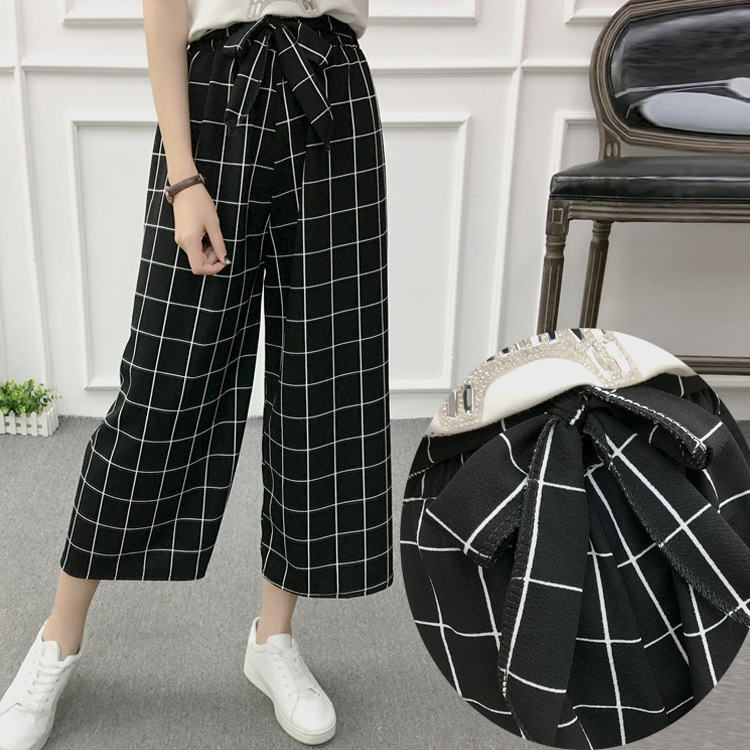 2020 Women New Spring Summer Wide Leg Pants Casual Loose High Elastic Waist Harem Pants Loose Belt Striped Elasticated Trousers