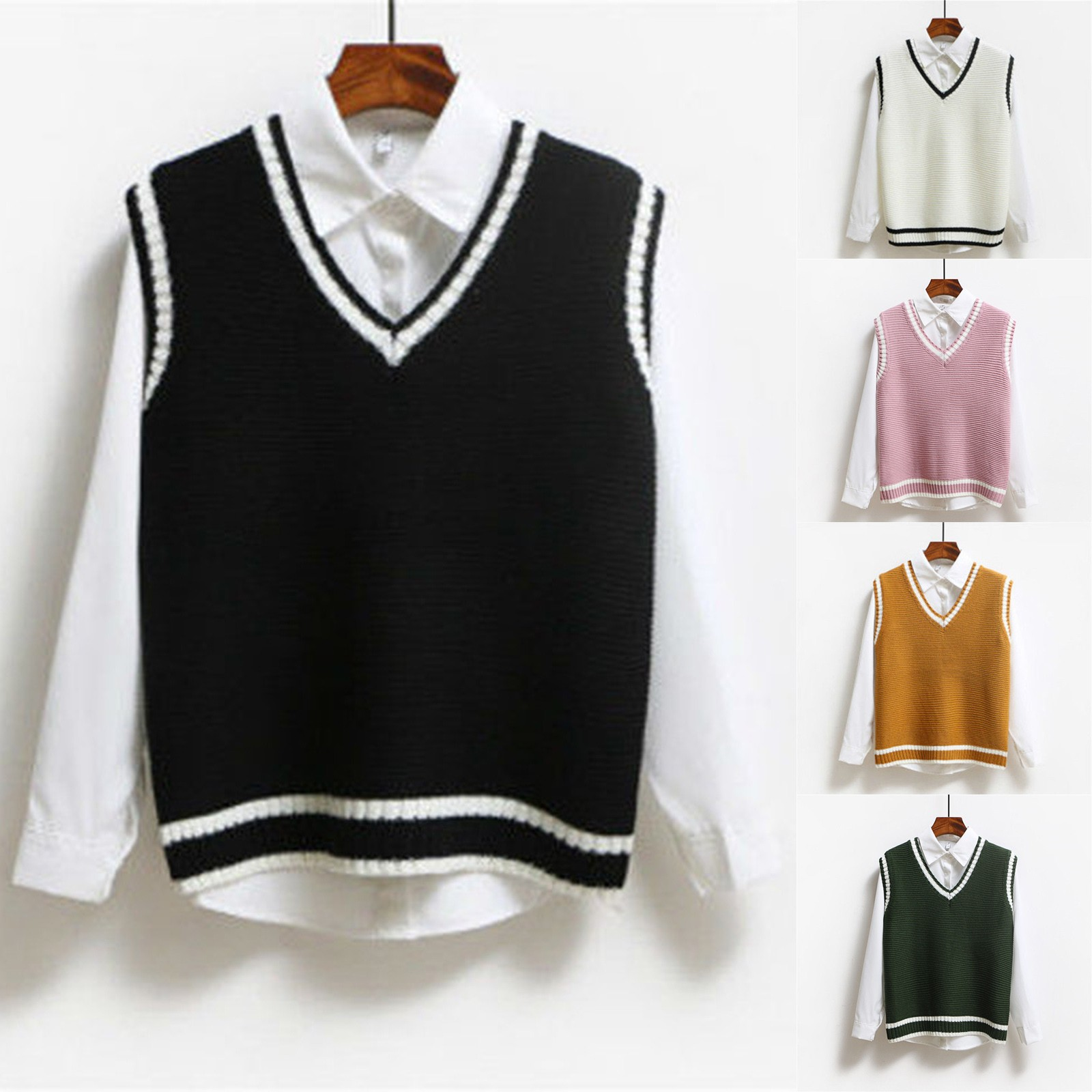 Chaleco de punto a cuadros para mujer, suéter de moda, Tops con cuello de pico, Tops Chic de estilo Preppy, 2021