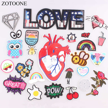 ZOTOONE 1PCS LOVE Heart Parches Embroidered Iron on Patches for Clothing DIY Motif Stripes Clothes Stickers Astronaut Badges B image
