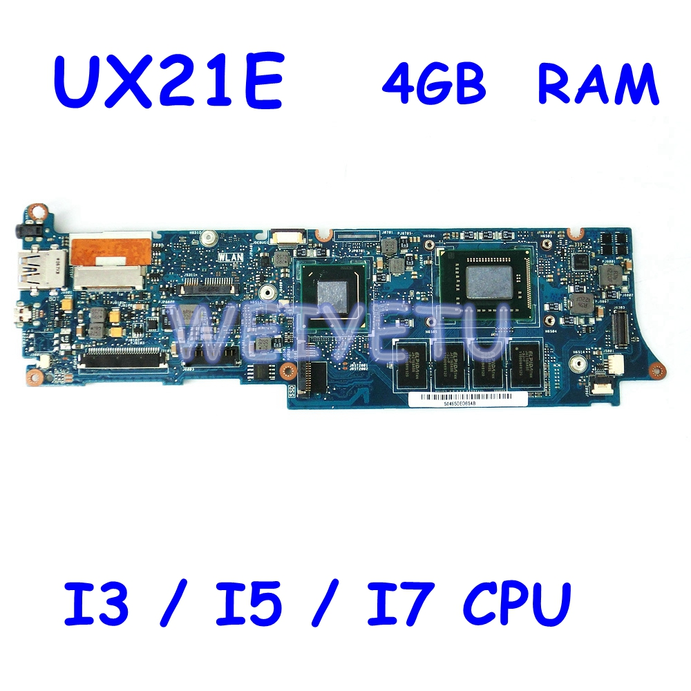 UX21E With I3-2367 I5-2467 I7-2677 CPU Motherboard For ASUS UX21E UX21 Laptop Mainboard Onboard 4G RAM  100% Tested