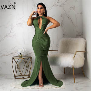 VAZN Floor-Length-Dress New-Product HALTER Summer 4colors Trumpet Solid FM1011 Slim Sexy Lady