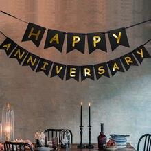 Feliz aniversário banner espumante ouro espumado sinal bandeira bronzeamento carta puxar bandeira aniversário festa de casamento decoração