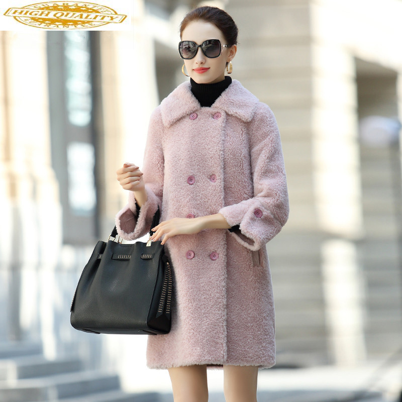 100% Wool Fur Coat Female Sheep Shearling Fur Long Coats Winter Jacket Women Korean Pink Jackets Suede Lining MY3736