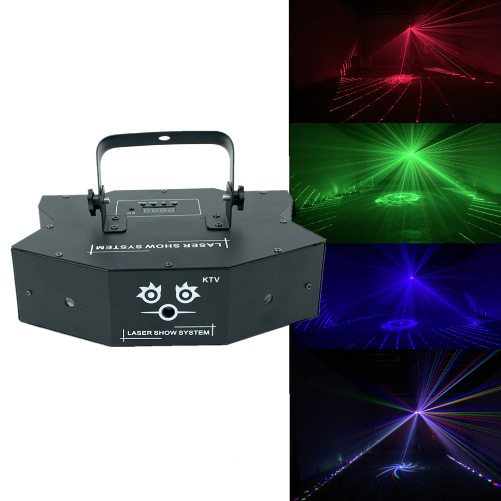 RGB 3in1 Full Color Laser Light Beam Light Dj Effect Projector Scanner Laser 24in1 Pattern Animation Dmx 512 Stage Lighting