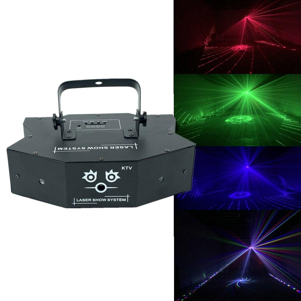 RGB 3in1 Full Color Laser Light Beam Light Dj Effect Projector Scanner Laser 24in1 Pattern Animation Dmx 512 Stage Lighting