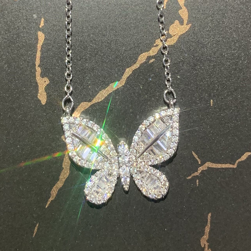 JUWANG New Design Butterfly Women Necklace Iced Out Bling Zircon Luxury Engagement Necklaces Jewelry Accessories