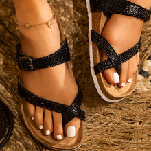 2020 New women shoes slippers summer beach flat sandals Fashion women Rhinestone outdoor slippers flip flops shoes women mujer jianbudan sandals for women s flat flip flops comfortable beach shoes fashion rhinestone crystal sandals summer flat women shoes