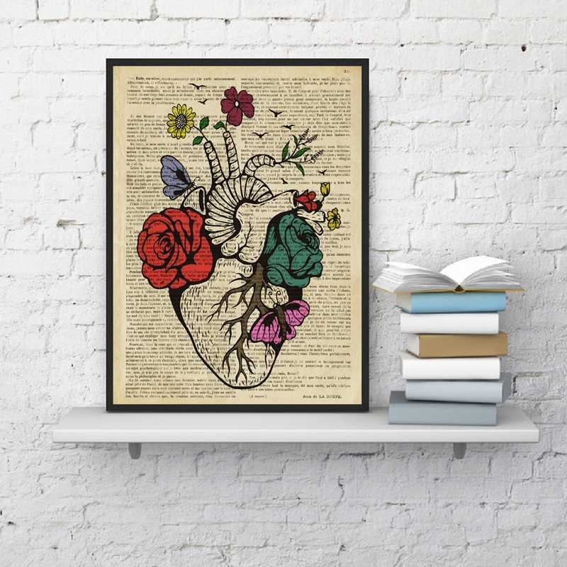 Floral Human Heart Wall Art Canvas Painting Pictures Vintage Poster Prints Anatomy Medicine Gifts Doctors Office Clinic Decor