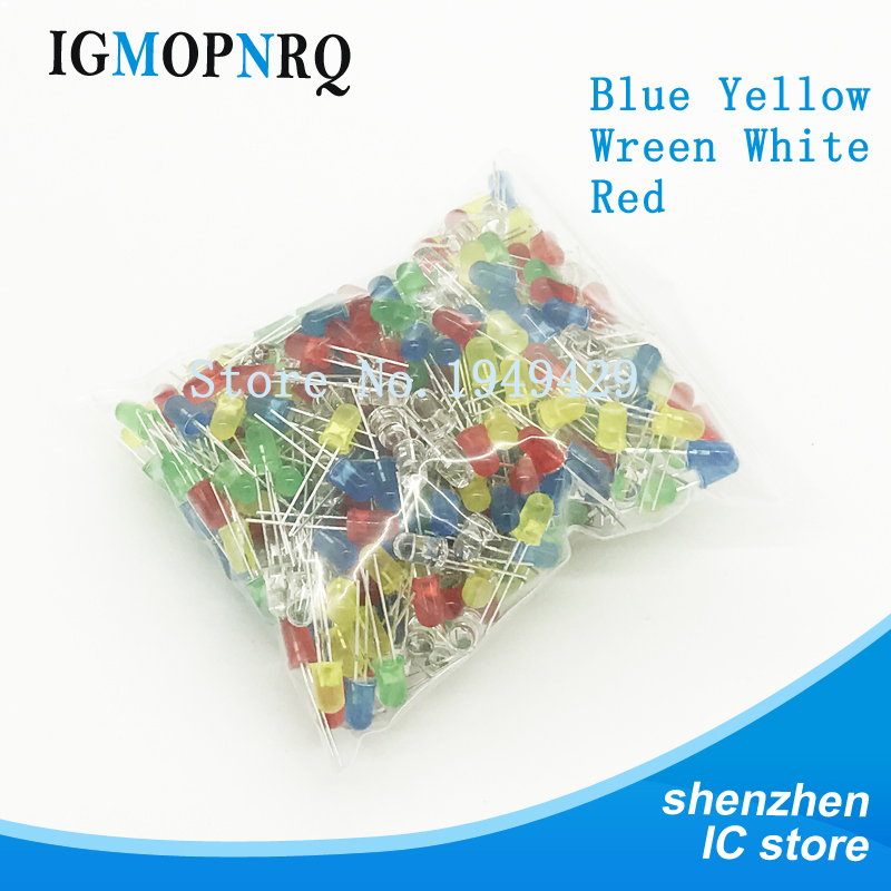 500 шт./лот 3 мм набор светодиодных диодов разных цветов красный зеленый желтый синий белый светодиод 5 цветов каждый 100 шт. Бесплатная доставк...