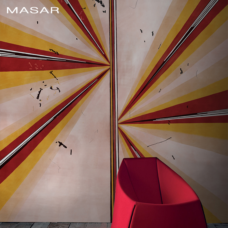 MASAR Blue Red Ray Ray Design Original Mural Living Room Hotel Background Wall Wallpaper Fashion Youth Wallpaper Rongguang