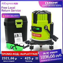 CLUBIONA Green and Red Multiple Horizontal and Vertlcal Laser Lines Separately and Outdoor Mode - Receiver Auto Line Laser Level