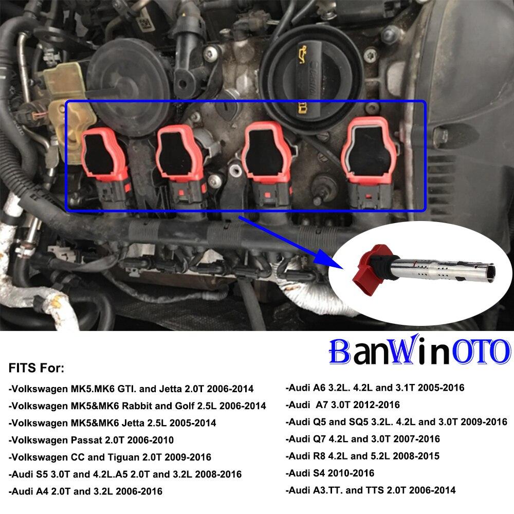 Bobina de encendido para VW Audi Jetta Golf Passat Tiguan CC A3/4/5/6/7/8 TT Q3/5 R8 06E905115D 06E905115 ABCDE 07K905715F 1 Uds