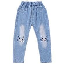 2019 Autumn New Girls Jeans Girl Cowboy Trousers Casual Childrens Pants Cotton Middle Waist Cat Pattern Soild Denim Long