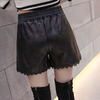 New PU leather shorts womens elastic waist large loose leg pants lace edge bottomed A-line boot