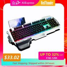 Redthunder K900 Rgb Bedrade Gaming Toetsenbord Mechanische Voelen 25 Sleutels Anti Ghosting Ergonomie Voor Pc Russisch Spaans Frans