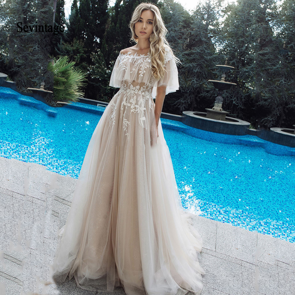 Sevintage Off The Shoulder Boho Wedding Dresses Lace Applique Bridal Gowns Illusion Buttons Back Wedding Gown Robe De Mariee