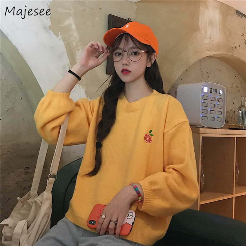 Sweaters Women O-neck All-match Embroidery Loose Tops Daily Casual High Quality Thicker Comfortable Students Pullovers Korean