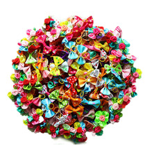 200pcs Pet Dog Grooming Accessories Products Hand made Small Dog Hair Bows Rubber Band Cat Hair Clips Boutique Dog Bows Supplier