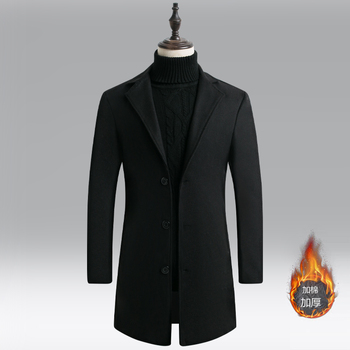 Fashion 2020 plus size 5xl thick mens winter long trench coats single button solid mans coat cashmere фото
