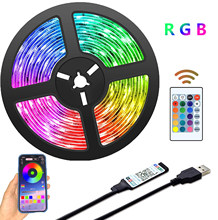 Led tira luz bluetooth usb alimentado luzes led tiras com rgb remoto 2835 cor em mudança led tv backlights para decoração de casa