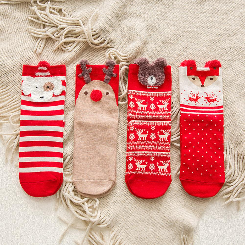 Christmas Socks Women Cartoon Funny Socks Winter Breathable Cotton Elastic Tube Socks Soft Hocok Calcetines Woman Socks