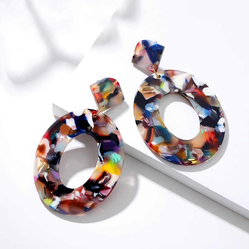 BICUX موضة البوهيمي بيان الاكريليك انخفاض الأقراط للنساء Vintage الهندسة الكورية استرخى القرط معلقة 2019 مجوهرات