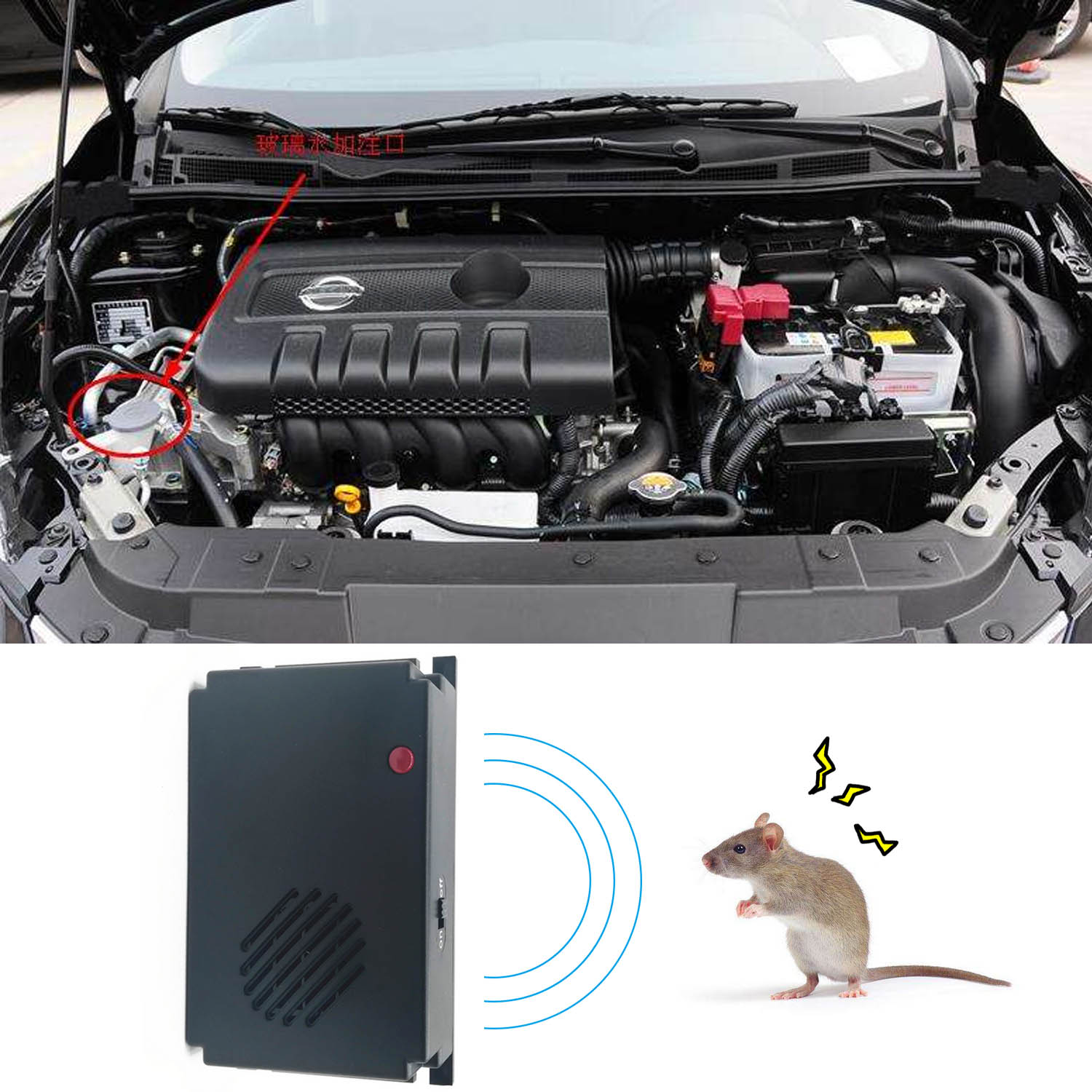 Behogar Battery Electronic Car Truck Steamer Ultrasonic Pest Control Repeller Deterrent Anti Mice Mouse Rat Rodent Cockroaches