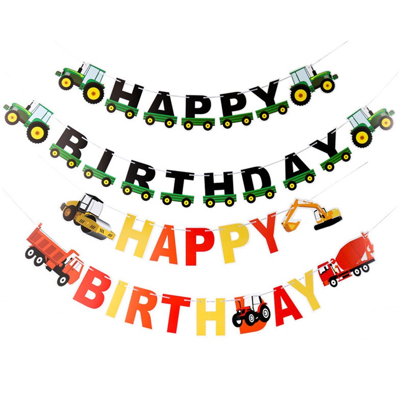 Construction Theme Birthday Party Happy Birthday Banner Cartoon Car Letter Flag for Boy s Birthday Cake Topper in Party DIY Decorations from Home Garden