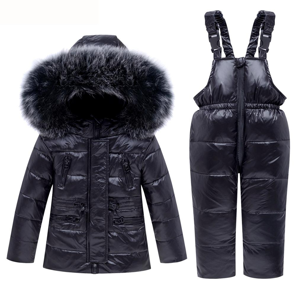 New Winter Children Ski Suit Baby Boy Girl Clothing Set Warm Down Jacket Coat Snowsuit Kids Clothes Ski Overalls Overcoat