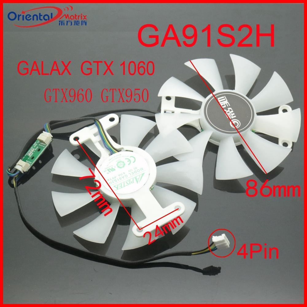 Free Shipping GA91S2H 12V 0.35A 4Pin 86mm VGA Fan For GALAXY GTX1060 GTX950 GTX960 Graphics Card Cooler Cooling Fan