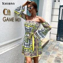 Женское короткое платье с открытыми плечами tosheiny винтажное