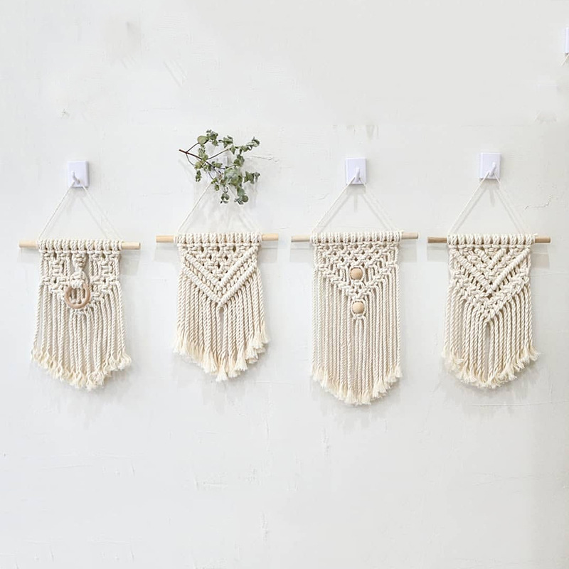 INS hand woven cotton tapestry Macrame Hanging Wall Decor Nordic Wall Art Cotton Rope Tapestry for children Living Room Bedroom