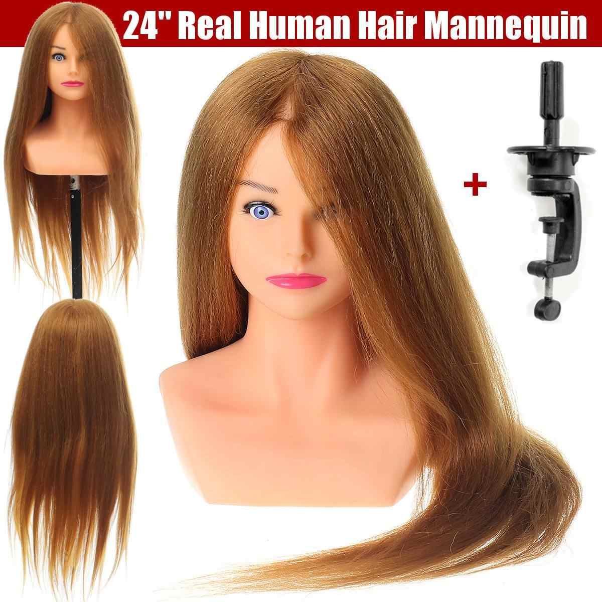 Manekin fryzjerski szef z 100% naturalne ludzkie włosy dla fryzury fryzjerzy Curling praktyka szkolenia głowy 24 cali