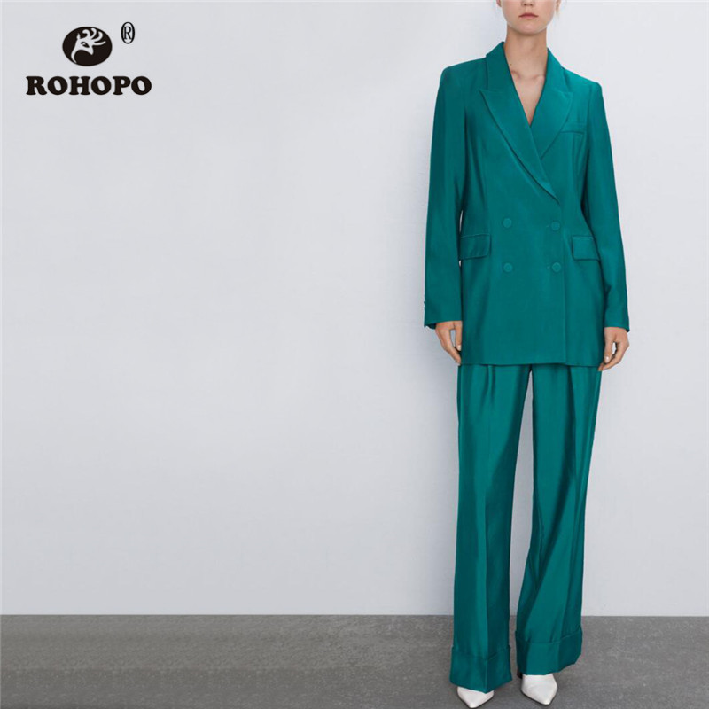ROHOPO Double Breast Notched Collar Green Blazer Tops Welted Pocket Side Flaps Big Pockets Slim Office Ladies Outwear #9497