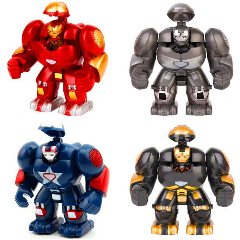 Big Size czerwony Iron Man Marvel superbohater Hulkbusters Model figurki zabawki budowlane prezent dla dzieci technika budowy