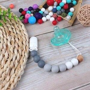 Image 3 - 500 perles en Silicone 15mm, de qualité alimentaire, perles rondes à sucette chaîne, pendentif pour bébé, anneau de dentition à faire soi même