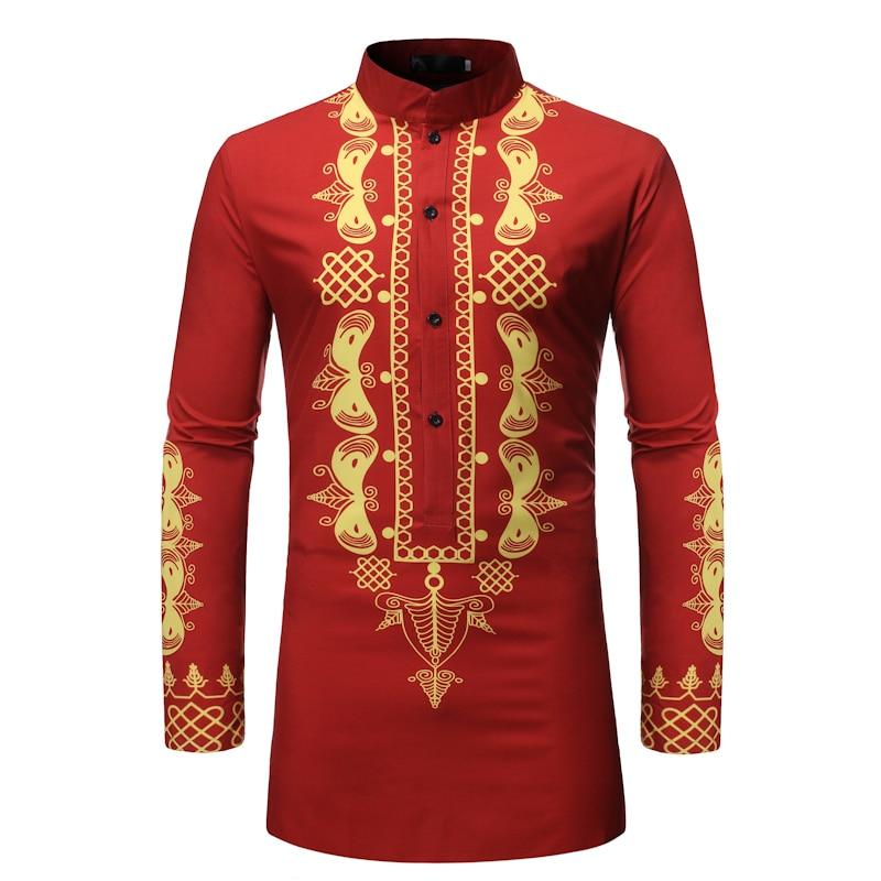 New Men's Long Sleeve Shirt 3D Printed Long Shirts Men Casual Shirt National Style Slim Fit Plus Size