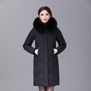 Image 4 - 2019 inverno feminino pato para baixo casaco parka longo ultraleve pena natural real pele de raposa luxo alta qualidade pato para baixo jaqueta #8929