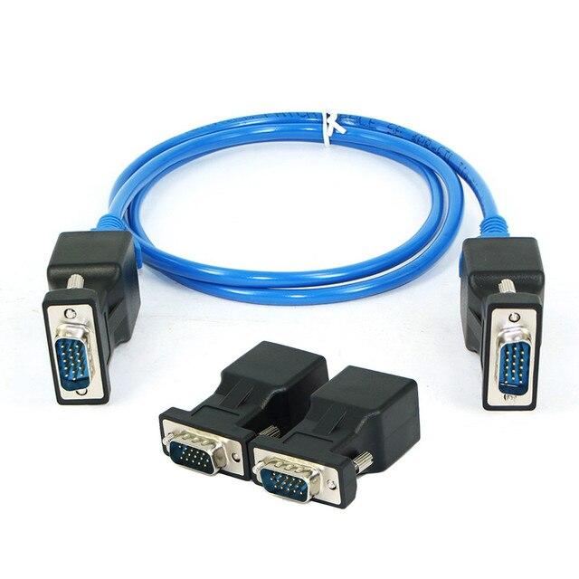 HIPERDEAL VGA do RJ45 1 para rozszerzacz VGA żeński/męski na Lan Cat5 Cat5e RJ45 Ethernet kobieta adaptery konwertery złącza