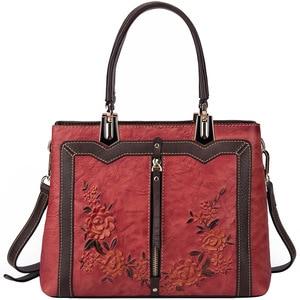 Image 4 - Johnature Retro Handmadeของแท้กระเป๋าถือหนังหรูผู้หญิงกระเป๋าออกแบบ 2020 ใหม่ขนาดใหญ่ความจุไหล่และกระเป๋าCrossbody