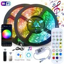 Wi-fi luzes de tira led rgb 2835/5050 fita felixable à prova dwaterproof água com alexa google música ao ar livre & sincronização voz para festas karaoke
